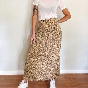 90s Cheetah leopard print side zip maxi skirt